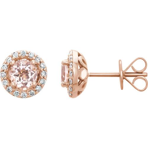 14kt Rose Gold Morganite Halo Stud Earrings