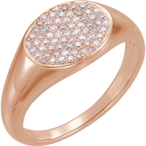 14kt Gold Pave Diamond Signet Ring