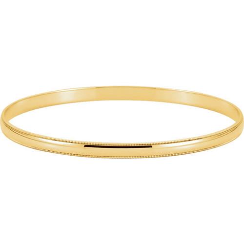 14kt Yellow Gold Milgrain Edge Bangle Bracelet