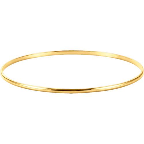 14kt Gold 2mm Plain Bangle Bracelet