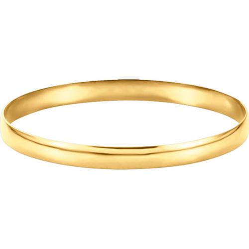 14kt Gold 6mm Plain Bangle Bracelet