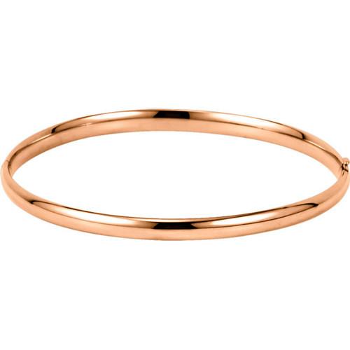 14kt Gold Plain Hollow Hinged Bangle Bracelet