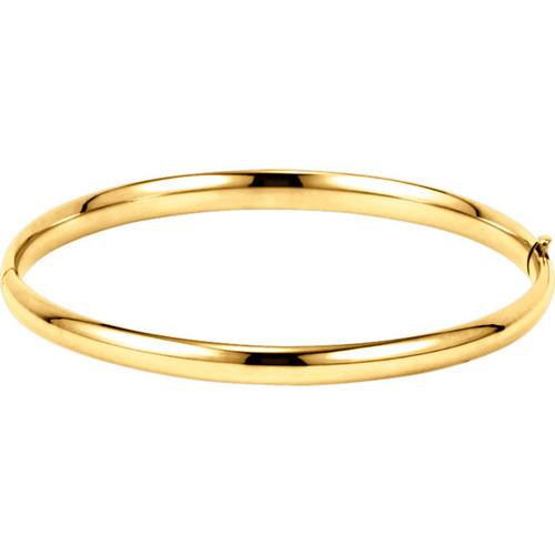 14kt Gold 4.75mm Plain Hollow Hinged Bangle Bracelet