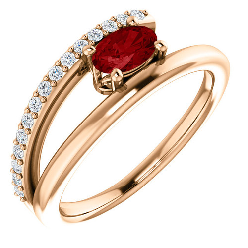 14kt Gold Diamond and Ruby Ring