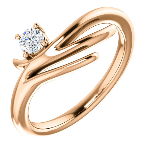 14kt Gold Organic Free-Form Solitaire Ring