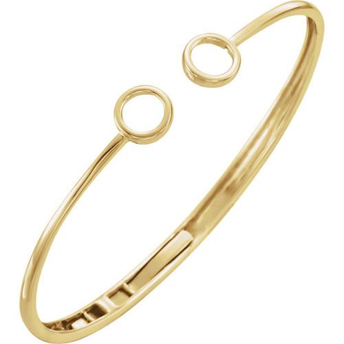 14kt Gold Circle Hinged Cuff Circle Bracelet