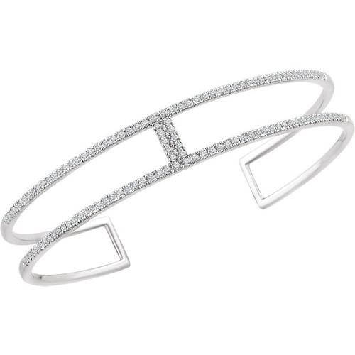 14kt White Gold Square Diamond Cuff Bracelet