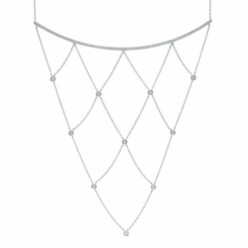 14kt Gold Chain and Bezel Long Bib Necklace