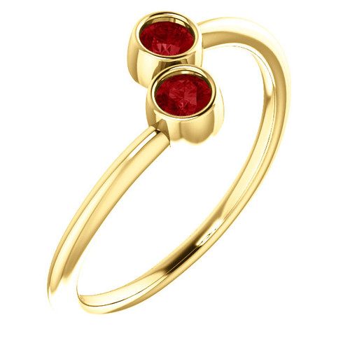 14kt Gold Ruby 2-Stone Ring