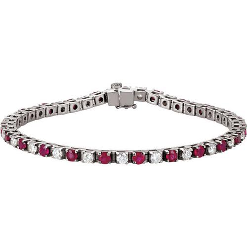 14kt Gold Diamond and Ruby Tennis Bracelet