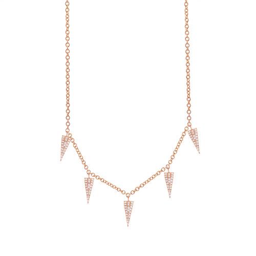 14kt Gold Pave Triangle Station Necklace