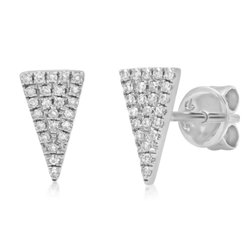 14kt Gold Triangle Pave Stud Earrings