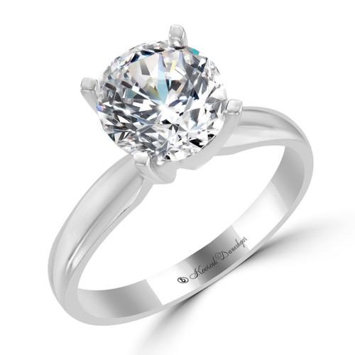 Platinum Solitaire Engagement Ring - Vega Style