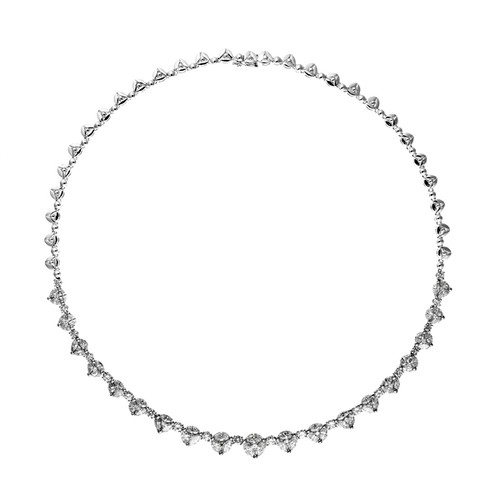 18kt White Gold Cluster Riviere Necklace