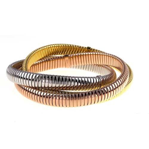 18kt Gold Tri-Tone Flexible Rolling Bracelets