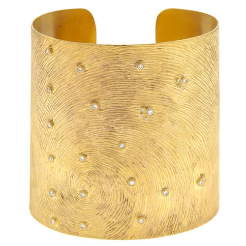 14kt Yellow Gold Carved Swirl Diamond Cuff Bracelet