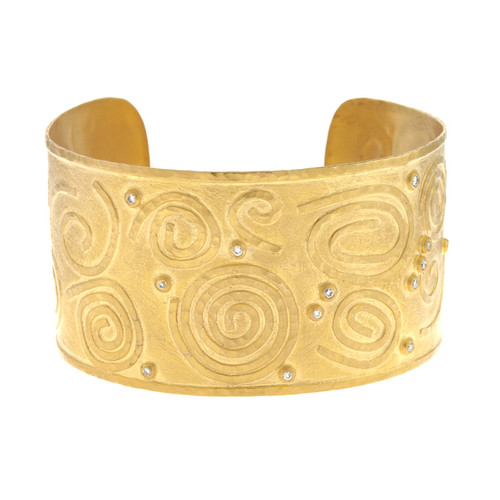 14kt Yellow Gold Swirl Diamond Cuff Bracelet