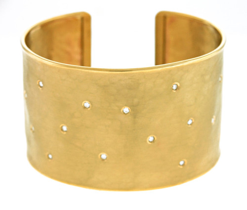 14kt Yellow Gold Sprinkle Diamond Cuff Bracelet
