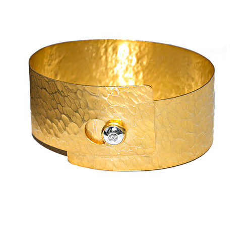 14kt Two-Tone Hammered Wrap Cuff Bracelet