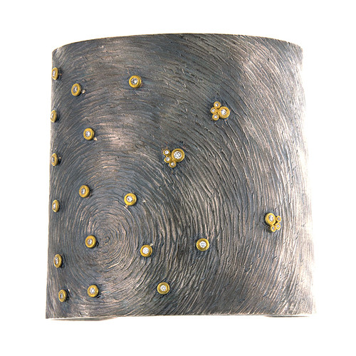 Sterling Silver and 14kt Gold Carved Swirl Wide Diamond Cuff Bracelet