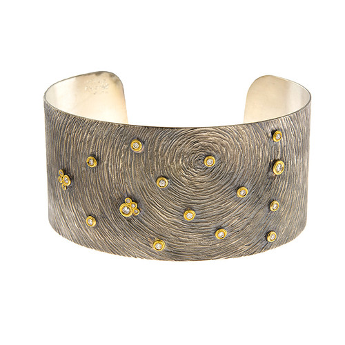 Sterling Silver and 14kt Gold Carved Swirl Diamond Cuff Bracelet