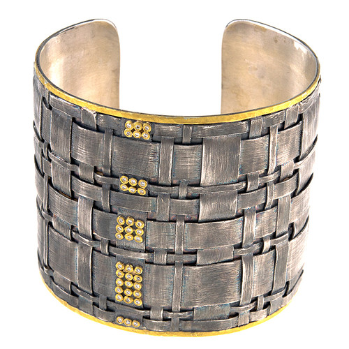 Silver and 14kt Gold Woven Diamond Cuff Bracelet