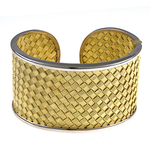 18kt Two-Tone Woven Hinged Cuff Bracelet