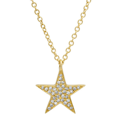 14kt Yellow Gold Diamond Star Pendant and Neck Chain