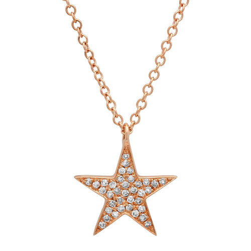14kt Rose Gold Diamond Star Pendant and Neck Chain