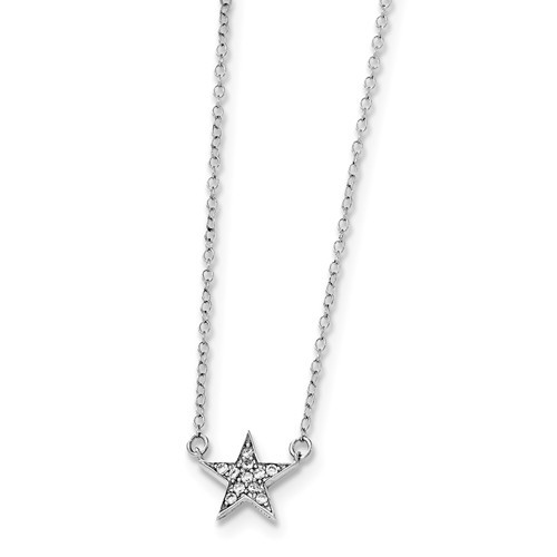 Sterling Silver and Cubic Zirconia Star Pendant and Neck Chain