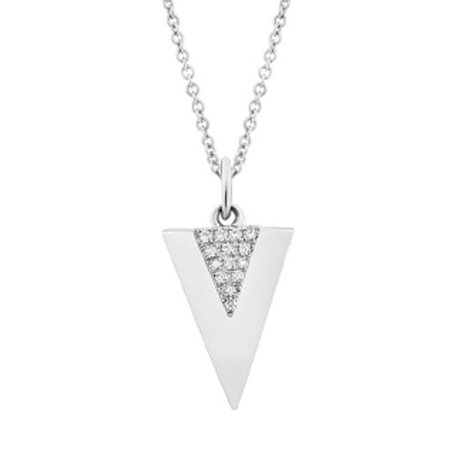 14k WG Necklace with Triangle Pendant