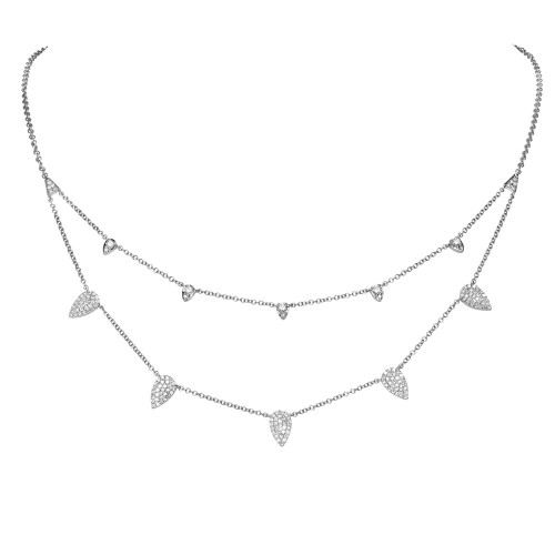14kt White Gold Pear Pave Diamond Double Necklace