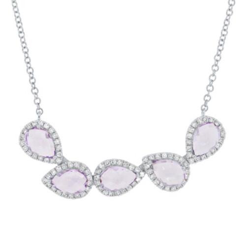 14k WG Necklace. 5 Pear-shaped Amethysts