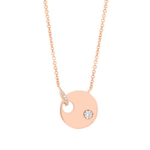 14k Rose Gold Single Cut Diamond Bail w/Single Diamond Accent Disk Necklace