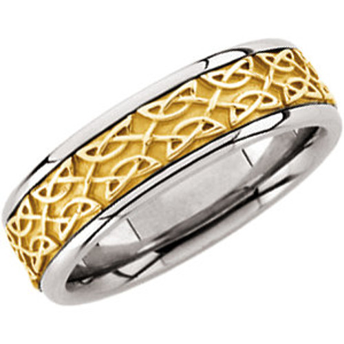 14K White & Yellow 7 mm Celtic-Inspired Comfort-Fit Band