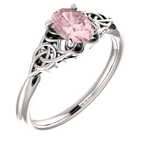 14K White Morganite Celtic-Inspired Ring