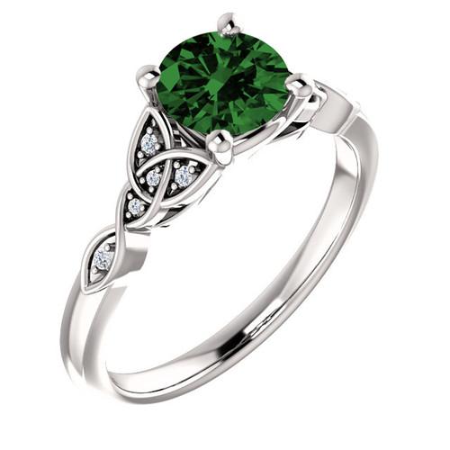 14K White 6.5 mm Round .03 CTW Diamond Semi-Set Engagement Ring