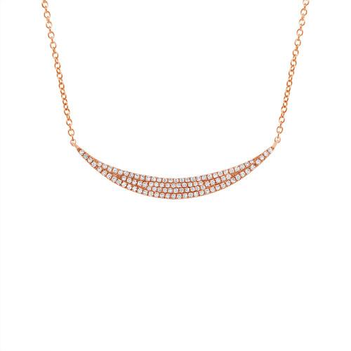 14k Rose Gold Diamond Pave Crescent Necklace