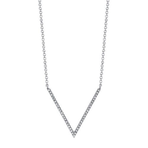 """14k White Gold Diamond """"V"""" Shaped Necklace"""