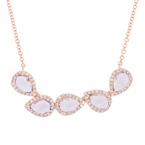 14k Rose Gold Pear-shaped Amethyst with Diamond Halo Necklace