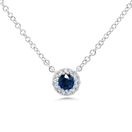 14k White Gold Round Blue Sapphire with Diamond Halo Necklace