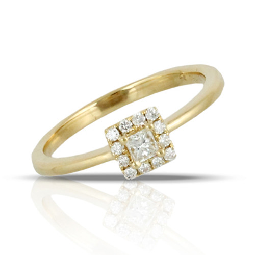 18k Yellow Gold Halo Diamond Engagement ring - Little Bird Collection