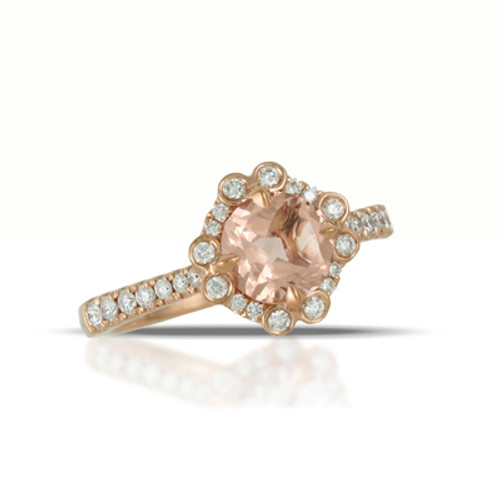 18K Rose Gold Halo Engagement ring - Little Bird Collection