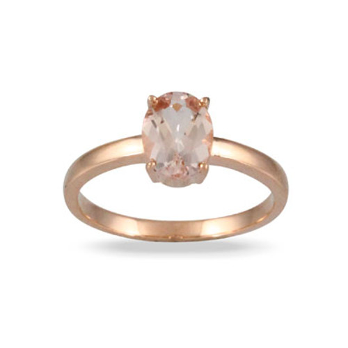 18K Rose Gold Morganite Solitaire Ring - Little Bird Collection