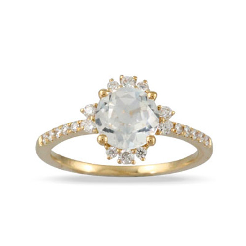 18k Yellow Gold  White Topaz Engagement ring - Little Bird Collection