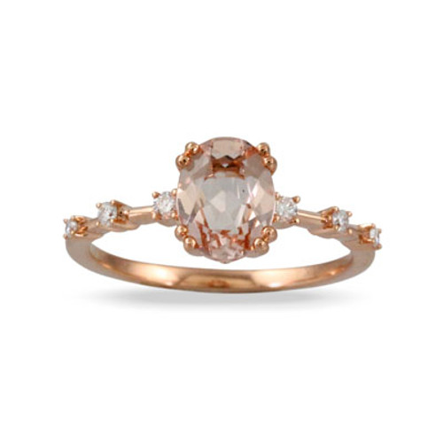 18K Rose Gold Morganite Halo Engagement ring - Little Bird Collection
