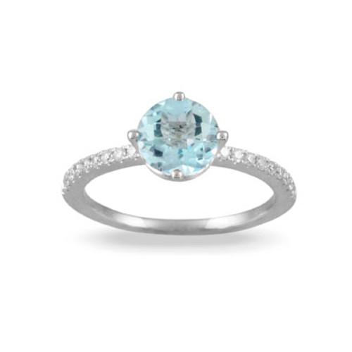 18K White Gold Blue Topaz Engagement ring - Little Bird Collection