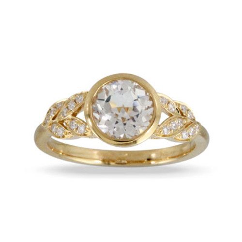 18k Yellow Gold Bezel Engagement ring - Little Bird Collection