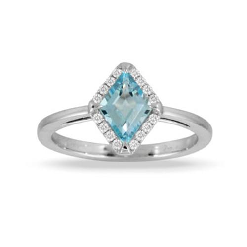18K White Gold Blue Topaz Ring - Little Bird Collection