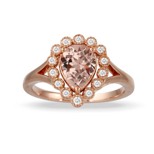 18K Rose Gold Halo MG Engagement ring - Little Bird Collection